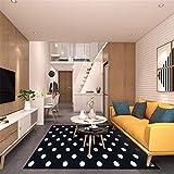 Kunsen Alfombra Entrada Casa Interior Alfombra Antideslizante de Punto Blanco de diseño Negro Alfombra de Sala de Estar Alfombra Casa Alfombra Juvenil Habitacion Negro Los 70X180CM