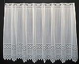 Cortina de media altura jacquard gráficamente altura 110 cm | Ancho de la cortina seleccionable por la cantidad comprada en pasos de 13 cm | Color: blanco | Cortinas cocina