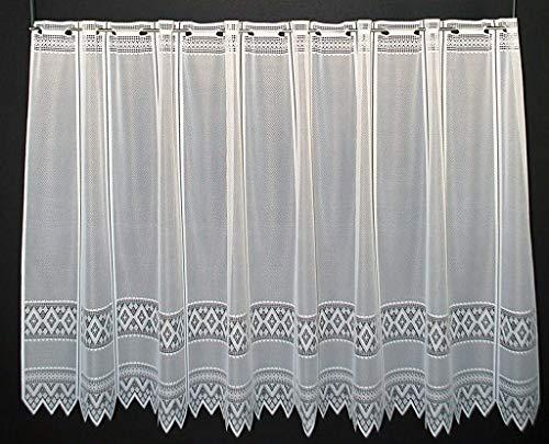 Scheibengardine Jacquard grafisch 110 cm hoch | Breite der Gardine durch gekaufte Menge in 13 cm Schritten wählbar (Anfertigung nach Maß) | Weiß | Vorhang Küche Wohnzimmer