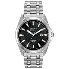 Round silver-tone watch featuring textured black dial with date window and luminous indicies Eco-Drive is fueled by light so it never needs a battery. Quartz oscillator frequency: 32,768 Hz 41 mm stainless steel case with antireflective sapphire dial...