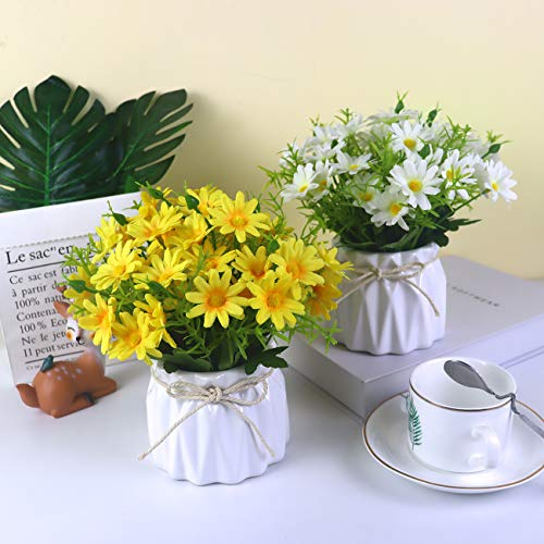UIKKOT Artificial Daisy Bouquet with Small Ceramic Vase Fake Silk Daisies Flowers Fake Plant Bonsai Decoration for Home Office Table Centerpieces Arrangement Wedding (Daisy Yellow) Silk Flower Arrangements