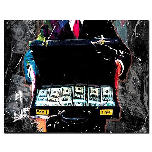 THTHTH Cartel de Dinero Negro Abstracto y Caja de Impresiones Hombre Pintura de Lienzo inspiradora Arte de Pared Pop Moderno Decoración Interior del hogar Imagen Mural 70x100cmx1 Sin Marco