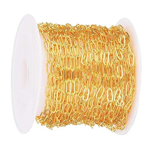 Milageto Fabricación de Joyas de Cadena de Cable Chapada en Oro de 16 Pies para Collares