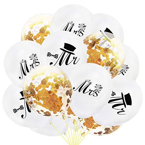 EVEYYQIU 12 Zoll Neue Herr Frau Braut Bräutigam Pailletten Konfetti Latex Ballon Anzug Hochzeitssaison Hochzeit Saison Vorschlag, 12 Zoll (5mr + 5mrs + 5 goldene Konfetti-Paket)