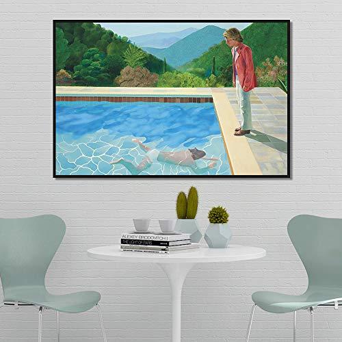 Brandless David Hockney Pool mit Zwei Figuren Leinwand Malerei Poster Drucke Quadros Wandkunst Bild für Wohnzimmer Home Decor 60x90cm kein Rahmen