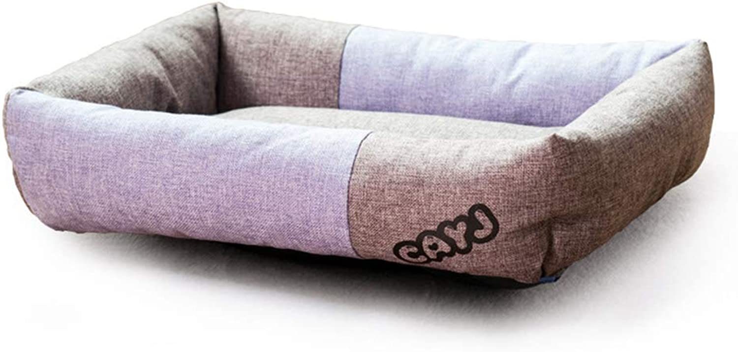 Rectangular Dog Bed, Soft Pet Sleepping Bed Sofa Kennel Nest Linen Cushion Pet House for Small Medium Dogs and Cats,Purple,L