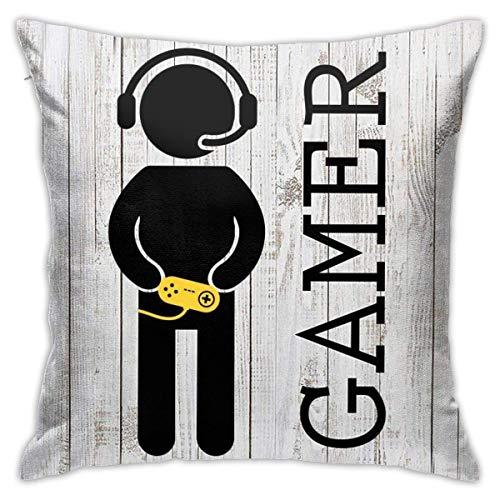 Fundas de Almohada de poliéster de algodón Cool Funny Design Decorative Throw Pillow Cushion Covers 18x18inchs,Throw Pillow Cases for Couch Bedroom Car Awesome Gamer Gaming Teenager Son Boys