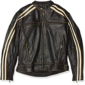 Australian Bikers Gear Retro Style 'The Bonnie' - Chaqueta de moto, Negro / Blanco, XL
