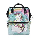 Bolsa de pañales con diseño de unicornio y caballo, arcoíris para momia, de gran capacidad, multifunción, para viajes
