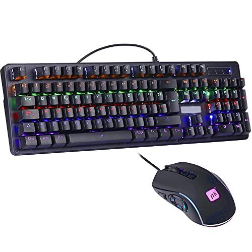 NK Onyx Gaming Pack v2 - Teclado Mecánico RGB Gamers PC 105 Teclas + Raton Gaming Programable (6400 DPI - 5 Botones)...