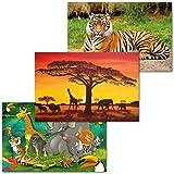 GREAT ART 3er Set XXL Poster Kinder Motive – Jungle