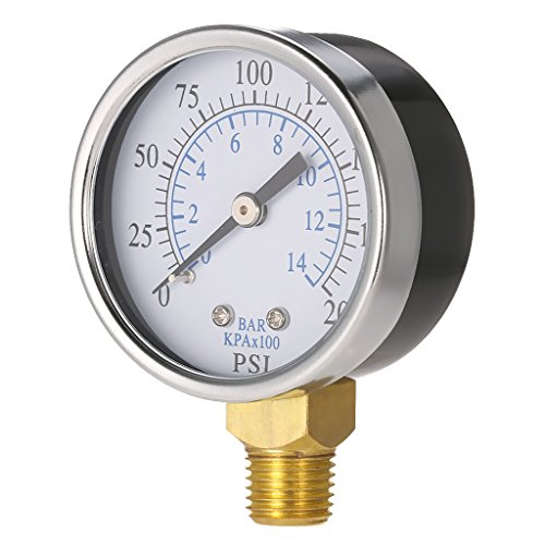 Manometer, Anschluß unten Gewinde 1/4''NPT 0-200PSI 0-14bar Druckmesser z.B. für Druckminderer, Wasserfilter, Druckanzeiger, Druckanzeige