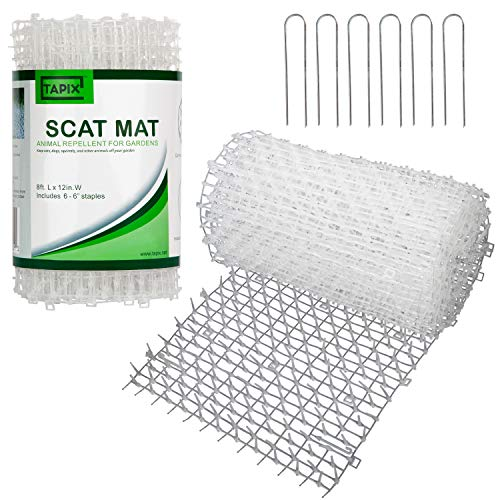 Tapix Cat Scat Mat Clear 8 feet x 12 inch with 6 Staples, Anti-cat Network with Spikes Digging Stopper - Cat Deterrent Mat for Indoor and Outdoor