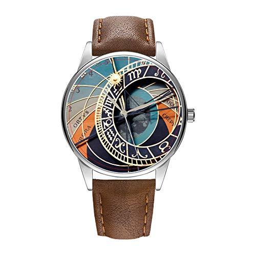 Herrenuhr braune Cortex-Quarz-Uhr für Männer berühmte Luxus-Armbanduhr Quarzuhr für Geschäftsgeschenk Antike mittelalterliche astrologische Uhr Tschechische Armbanduhr