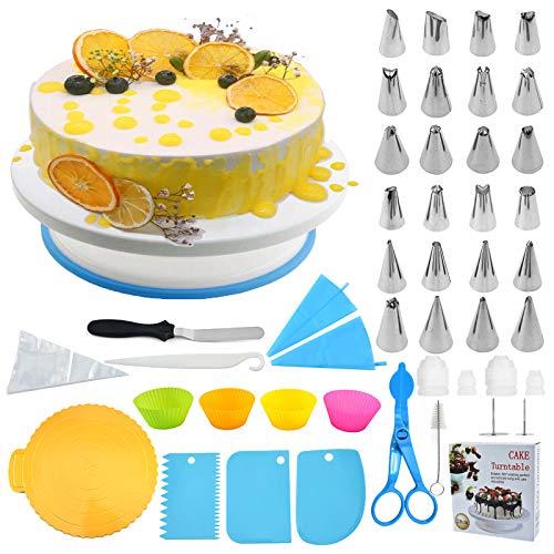 Fitsund 151 Stück Tortenplatte Drehbar Tortenständer mit Zuckerguss, Spritzbeutel und Tipps-Set, Vereisungsspachtel und glatter, Gebäckwerkzeug