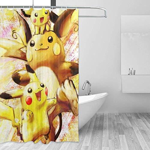 226 Milaidi Duschvorhang, Pikachu & Raichu, 152,4 x 183,9 cm, bedruckt, wasserdicht, für Badezimmer
