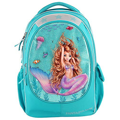 Mochila escolar Depesche 10395 Fantasy Model Mermaid, turquesa, aprox. 23 x 34 x 44 cm, multicolor