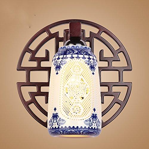 Lámpara de pared Escaleras de Porcelana Azul y Blanca Lámpara de Pasillo