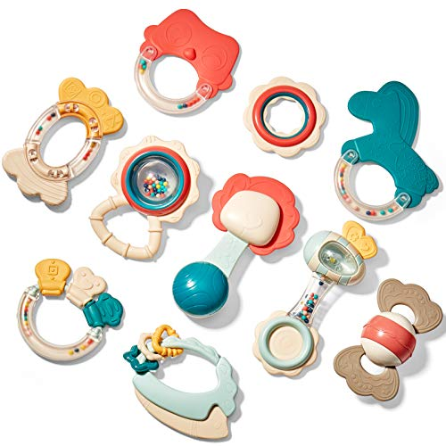 Baby Toys 3-6 Months Baby Rattle Teething Toys for Babies 0-6-12 Months 10PCS, Multisurface Texture Teethers with Storage Box, Baby Toys 6 to 12 Months Infant Toys Newborn Toys Baby Gifts