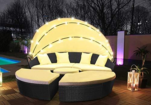 Directachat56 Canapé de Jardin, résine tressée, éclairage LED Solaire, 210 cm, 3 Coloris (Noir)