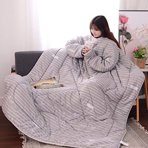 Lazy Quilt Bettdecke Daunendecke Multifunktionsliebhaber Winter Warm Long Sleeve verdicken Decke Schlafsälen können Kleidungsteppdecken tragen dicken Lazy Steppdecke mit Ärmeln Gewaschene