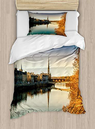 ABAKUHAUS Schotland Dekbedovertrekset, River Tay in Perth Scenery, Decoratieve 2-delige Bedset met 1 siersloop, 130 cm x 200 cm, Veelkleurig