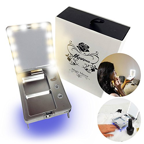 The Magic Mirror: LED Lighted Compact Mirror with Powder & Puff Holder, Travel Makeup Mirror with Built-in UV Lamp for Nails