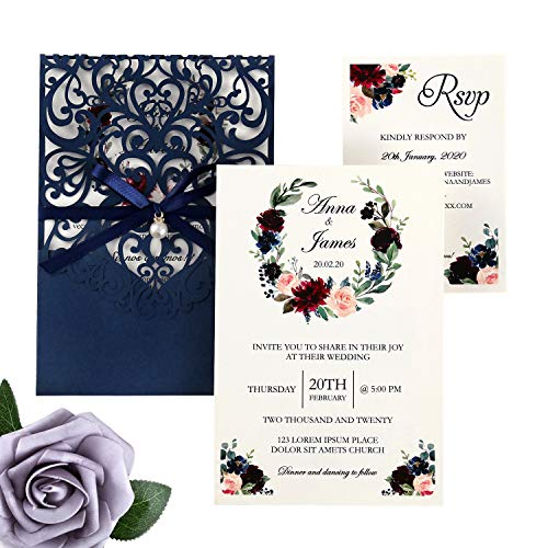 DreamBuilt 4.7X7 Inch 50PCS Blank Laser Cut Navy Blue Wedding Invitations With Rsvp Cards And Envelopes And Ribbon Belly Band Pearl Embellishments Wedding Invitation Cards For Wedding Invite