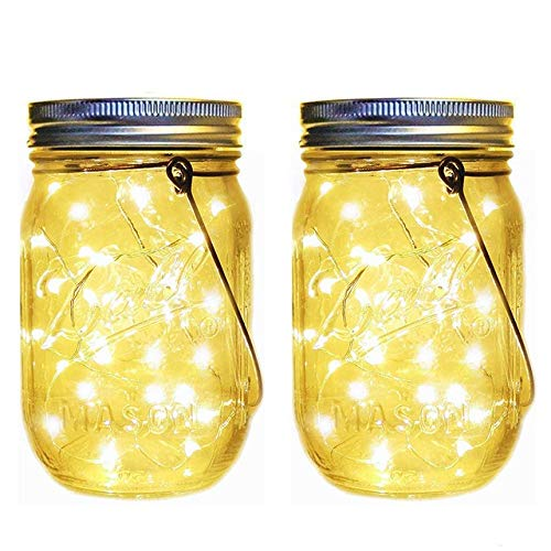 PDHCC 20 LED Solar Light Fairy Light Mason Jar Lid Lamp Outdoor Garden Home Decor Firefly Lights Hanging Lanterns Light (Emitting Color : 2pcs Battery Powered, Size : Free)