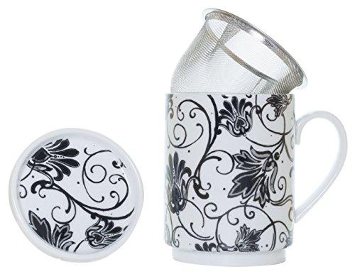 La Cija Paris Negro Tisana de Porcelana con Filtro de Acero Inoxidable, Blanco, 11x7.9x10.9 cm