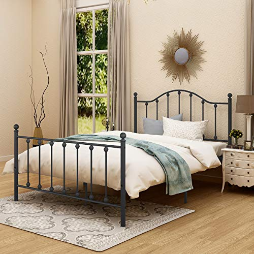 Metal Bed Frame Full Size with Strong Headboard Platform and Footboard/Bed Frame Foundation Heavy Duty Steel Bed (Black)