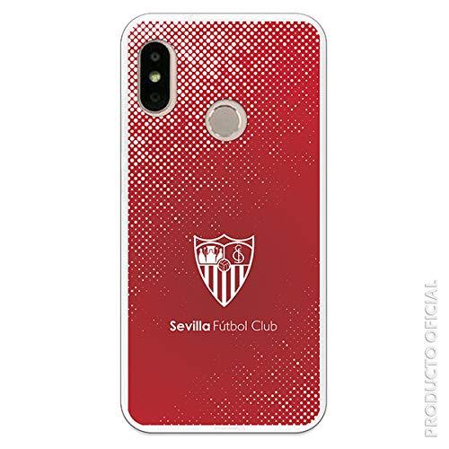 Funda para Xiaomi Mi A2 Lite - Redmi 6 Pro Oficial del Sevilla FC Sevilla Trama y Escudo Blanco para Proteger tu móvil. Carcasa para Xiaomi de Silicona Flexible con Licencia Oficial del Sevilla FC.