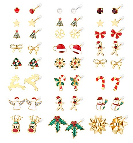 SAILIMUE Christmas Earrings Stud Gift for Women Teens Cute Earrings Bow Angle Tree Deer Stud Earrings Xmas Festival Party Jewelry Set 20 Pairs