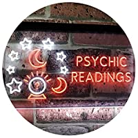 Psychic Readings Crystal Ball Dual Color LED看板 ネオンプレート サイン 標識 白色 + オレンジ色 600 x 400mm st6s64-i3120-wo