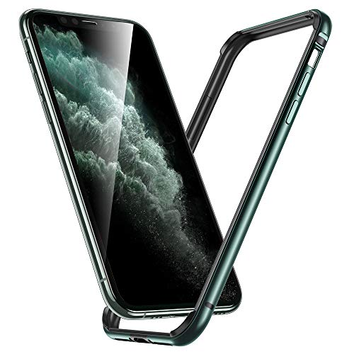 ESR Bumper Designed for iPhone 11 Pro Case, Metal Frame Armor with Soft Inner Bumper [Zero Signal Interference] [Raised Edge Protection] for iPhone 11 Pro, Dark Green
