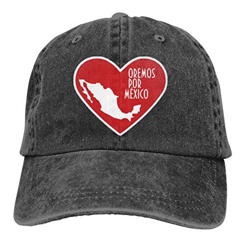 Pray for México - Gorra de béisbol ajustable, diseño de corazón, color negro
