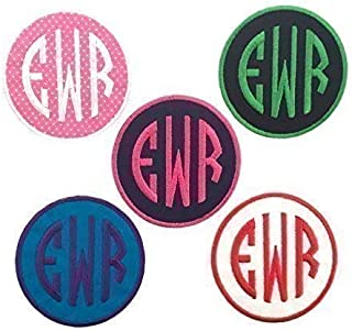 Custom Embroided Name Patch Iron On Or Sew On-Circle Monogram (1 Patch)