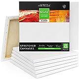 Arteza Lienzo para pintar cuadros | 30,5x30,5 cm | Pack de 8 | 100% algodón | Lienzos en blanco para óleo, acrílicos y acuarelas | para artistas profesionales, aficionados y principiantes