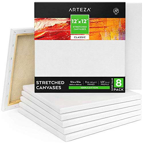 "Arteza 12x12"" Premium Stretched Canvas, Bulk Pack of 8, Primed, 100% Cotton for Painting, Acrylic Pouring, Oil Paint & Wet Art Media, Canvases for Artist, Hobby Painters & Beginner"