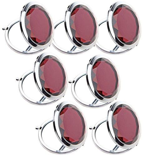 7pc Set Double Compact Cosmetic Makeup Round Pocket Purse Magnification Jewel Mirror (purple-7pc)