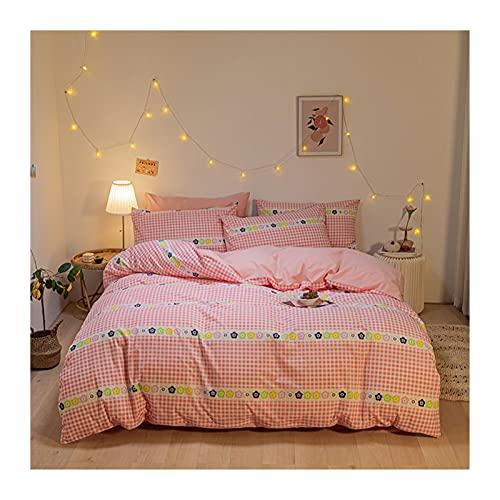 Sängkläder Påslakanset – 100% Tvättad Bomull Utskrift Påslakan 200x230cm Med Dra-på-lakan 150/180x200 Örngott 48x74cmx2 (Color : Pink A, Size : 200x230cm -180x200cm)