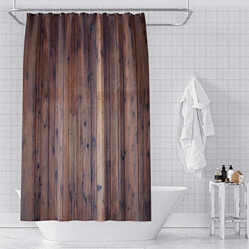 YongFoto 72x84 Inches Rustic Country Style Barn Door Shower Curtain Farmhouse Style Western Brown Primitive Wood Shower Curtains for Bathroom Decor Cloth Fabric Bath Curtain with Hooks