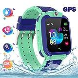 GPS Reloj Smartwatch para niños, impermeable GPS Rastreador Reloj anti-perdida de teléfonos inteligentes SOS, llamada bidireccional juegos matemáticas - regalo para para Niños Niña 3-12 Años, Verde