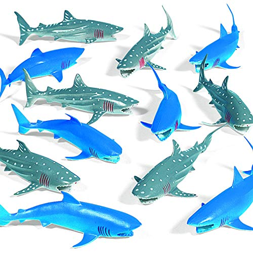 Vinyl Sharks (12 pieces) Shark Party Drink Accessories Pool Party Decorations