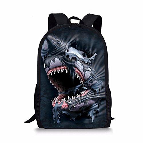 HUGS IDEA Shark 3D Printed Kids School Backpack Cool Children Book Bag for Teen Boy