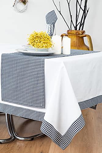 ESSE HOME Mantel rectangular con servilletas y camino – puro algodón – Marina (S-150 x 250, 11 – 10)