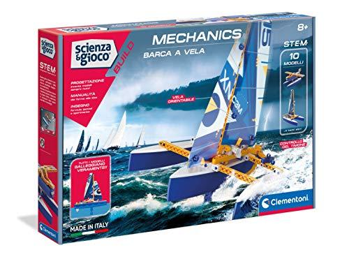 Clementoni - Ciencia Build-Barco de Vela, Juego de construcción, Laboratorio mecánico, Juego científico (versión en Italiano), niños 8 años +, Fabricado en Italia, Multicolor, 19215