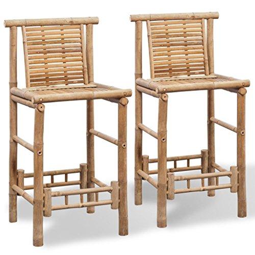 Festnight 2er Set Bambus Barstuhl Barhocker mit Lehne | Bambusstuhl Gartenstühle Hochstuhl Stuhlgruppe 53 x 45 x 102 cm