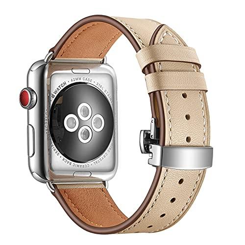 Compatible con Apple Watch Band 38/40 mm 42/44 mm, correa ligera con hebilla, cuero genuino, correa de repuesto para iWatch SE Series 6/5/4/3/2/1, Beige+Plata, 38/40 mm