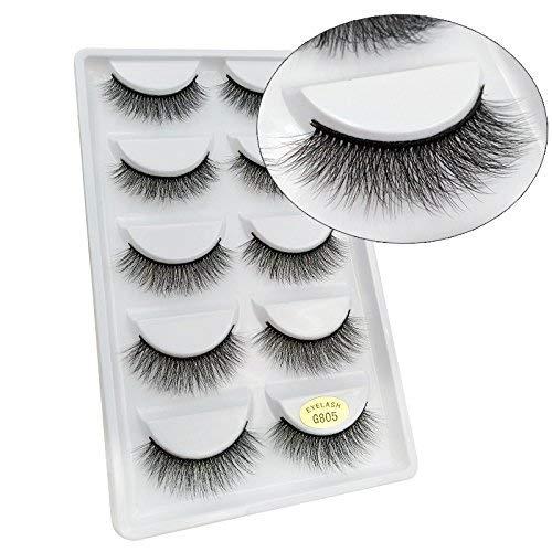 5 Paires 3D Naturel Faux Cils Réutilisable Moelleux Bande D'Oeil Cils Longue Extension -Faux Cils Pour Maquillage Quotidien, Soirée, Mariage, Fête-G805